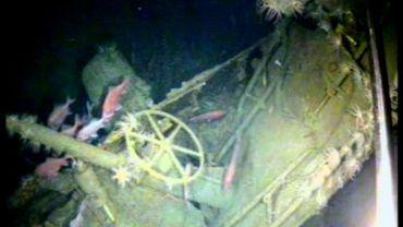 Photo de la Royal Navy australienne du 21 décembre 2017  montrant l'épave d'un sous-marin australien de la Première guerre mondiale sombré en 1914 au large de la Papouasie