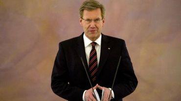 Le président allemand Christian Wulff lors d'une conférence de presse le 22 décembre 2011 à Berlin