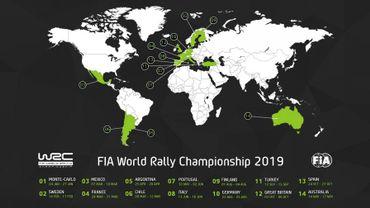 Le calendrier WRC 2019