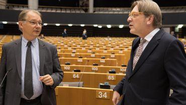 Le Belge Philippe Lamberts en compagnie de son compatriote Guy Verhofstadt.