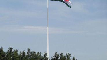 Le drapeau dépasse largement la cime des plus hauts arbres.