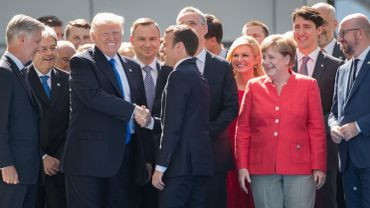 King Philippe - Filip of Belgium, US President Donald Trump, President of France Emmanuel Macron, Chancellor of Germany Angela Merkel and Belgian Prime Minister Charles Michel pictured during the unveiling ceremony of the new headquarters of NATO