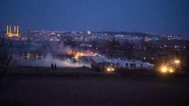 Heurts près du poste frontière de Kastanies, ce 07 mars