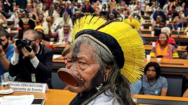 Le légendaire chef indigène brésilien Raoni, à Brasilia le 25 avril 2019