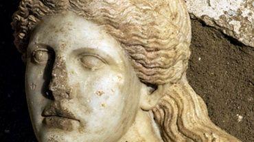 Tête de sphinx trouvée à Amphipolis, en Macédoine (Grèce)