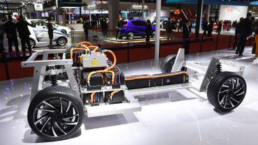 Un châssis et des batteries d'un véhicule électrique