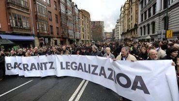 Des manifestants réclament la légalisation du parti Sortu, le 19 février 2011 à Bilbao