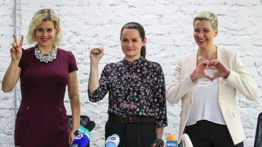 Veronika Tsekalo, Svetlana Tikhanovskaya et Maria Kolesnikova durant la campagne électorale