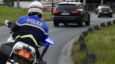 L'escorte policière emmenant Salah Abdeslam à la prison de Fleury-Merogis, le 27 avril 2017.