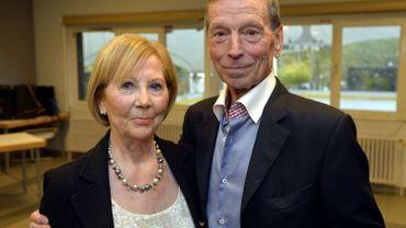 Le cycliste Rik Van Looy et son épouse en 2013.