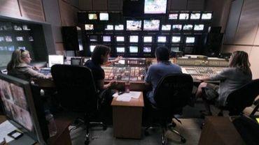 La régie de la radio-télévision ERT, le 14 juin 2013