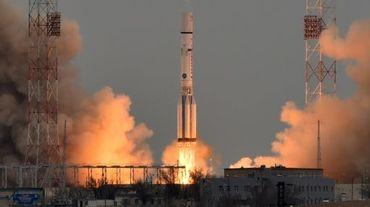 La fusée Proton transportant la sonde de la mission ExoMars 2016 décolle du cosmodrome russe de Baïkonour le 14 mars 2016