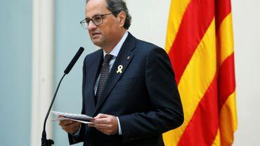 Le président catalan Quim Torra réagit aux lourdes réquisitions du parquet espagnol contre des dirigeants indépendantistes de la région, dans une déclaration à Barcelone le 2 novembre 2018