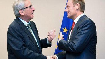 Le président de la commission européenne Jean-Claude Juncker et le président du conseil européen Donald Tusk le 1er décembre 2014 à Bruxelles