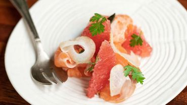 Ceviche de truite et pamplemousse, fenouil, sarrasin