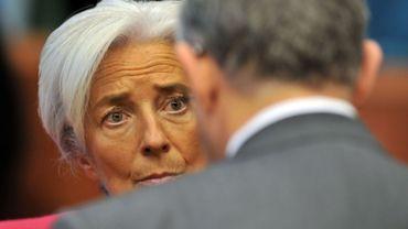 Christine Lagarde, patronne du FMI discute avec le Premier ministre grec Luca Papademos