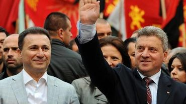 Le Premier ministre Nikola Gruevski et le présidentGjorge Ivanov le 25 avril 2014 à Veles