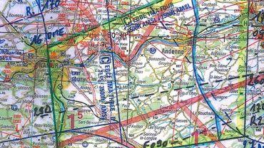Le village de Gesves se trouve dans zone d'écolage des pilotes (en jaune)