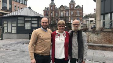 Les présidents des sections locales des partis de la majorité: Michaël Gaux (cdH), Viviane Willems (PS) et Denis Leduc (Ecolo)