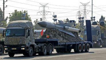 Des missiles iraniens lors d'une parade militaire, le 18 avril 2018 à Téhéran