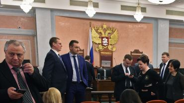 Une audition de la Cour suprême russe le 20 avril 2017 à Moscou, avant que la première décision d'interdiction des Témoins de Jéhovah ne soit prise.