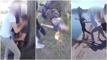Les images de l'agression violente de l'adolescent.