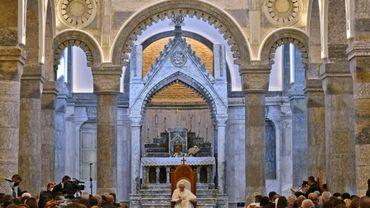 Le pape François s'adresse aux fidèles dans l'église al-Tahira, le 7 mars 2021 à Qaraqosh, en Irak