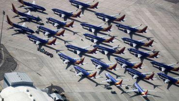 Des Boeing 737 Max parqués sur un aéroport en Californie