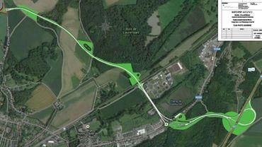 En haut à gauche, le rond-point situé près de GSK dans le zoning nord. La nouvelle route traversera des zones agricoles et forestières pour rejoindre la N25 à Grez-Doiceau.