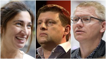 """Le président du sp.a, John Crombez (au centre), s'interroge : """"Ce gouvernement prépare un contrat de 15 milliards d'euros pour les avions de chasse. Et maintenant, ça ?""""."""