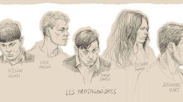Un dessin d'Igor Preys représentant les 5 accusés