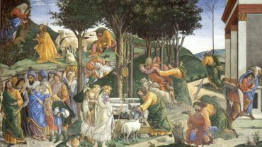 Youth of Moses or The Trials of Moses, Sandro Botticelli, 1481-1482, 348.5 cm × 558 cm, Sistine Chapel, Vatican City
