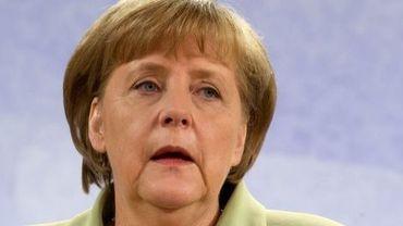 La chancelière allemande Angela Merkel, lors d'une conférence de presse le 31 mai 2012 à Stralsund, dans le nord de l'Allemagne