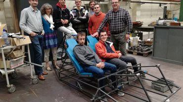 Le vélo a été entièrement développé bénévolement par des ingénieurs de l'UCL pour les élèves de l'école spéciale l'Escalpade.