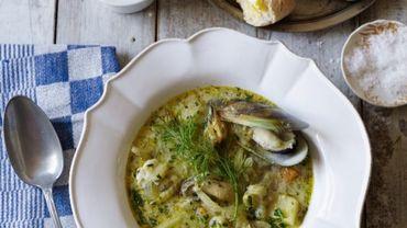 Recette de Candice: Soupe crémeuse de fenouil aux moules, poisson et crabe