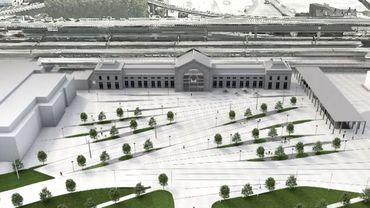 La maquette du projet de l'esplanade de la gare du sud à Charleroi