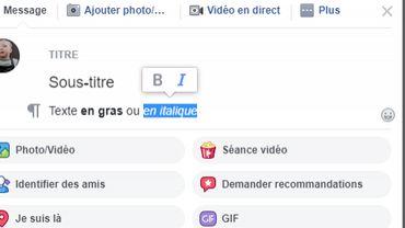 """Titre, gras italique: Facebook déploie un """"éditeur"""" pour formater vos publications dans les groupes"""