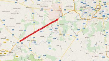 Le tracé du tronçon manquant de la N54 est ici globalement souligné en rouge