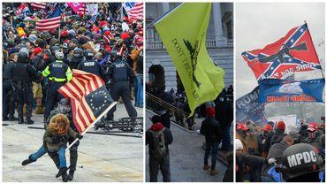 Un drapeau américain à 13 étoiles, un drapeau des états confédérés: beaucoup de symboles forts mercredi devant le Capitole.