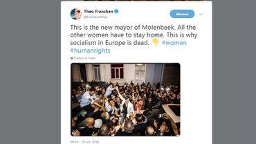 """""""Les femmes ont dû rester à la maison"""": Theo Francken interprète à sa façon une photo des élections"""