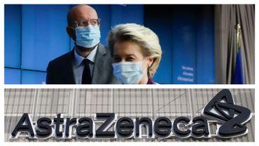 Charles Michel et Ursula von der Leyen à Bruxelles, le 21 janvier, et logo d'Astra Zeneca (illustration)