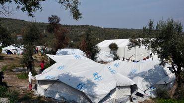 La situation la plus préoccupante est dans les centres d'accueil et d'identification de Moria sur l'île de Lesbos, ici photographié le 16 mars 2017, et de Vathy à Samos, selon l'Onu