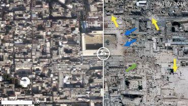 Depuis le début de la guerre en Syrie, l'ancienne ville syrienne d'Alep classée au patrimoine mondial de l'UNESCO a subi de très gros dégâts matériels. Il en va de même pour quatre autres sites classés, sur six au total