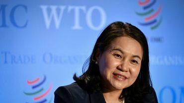 La ministre sud-coréenne du Commerce Yoo Myung-hee, lors d'une conférence de presse après son audition à l'OMC, à Genève le 16 juillet 2020