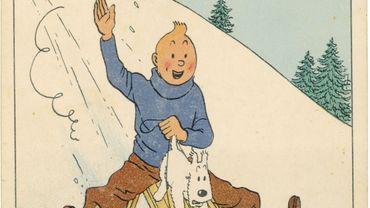 Hergé, Tintin, Carte neige, Encre de Chine et aquarelle sur papier, 1942/1943