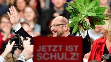 Martin Schulz, élu à la tête du parti social-démocrate allemand (SPD) avec 100% des voix, le 19 mars 2017à Berlin