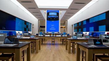 Vue d'un magasin phare de Microsoft à New York