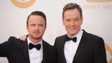 """Bryan Cranston et Aaron Paul, les deux héros de """"Breaking Bad"""", dont la dernière saison vient de s'achever"""