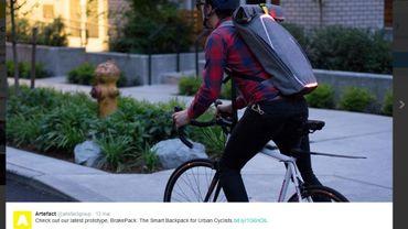 Brake Pack, le prototype du sac à dos connecté inventé par la société américaine Artefact a été présenté sur Twitter.