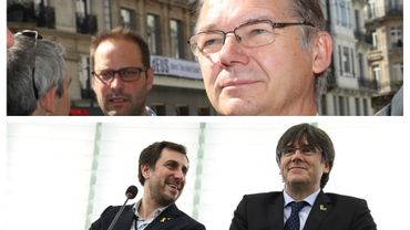 Philippe Lamberts (en haut) - Carles Puigdemont et Toni Comin (en bas)